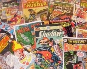 pile of vintage comic books shadow